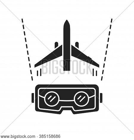 Vr Aviation Black Glyph Icon. Pilot Training And Simulation. Smart Industry. Pictogram For Web Page,