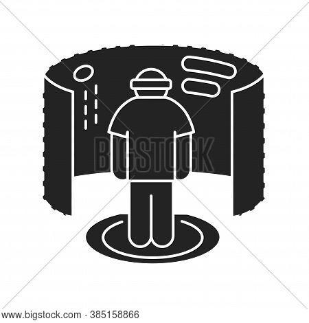 Virtual Reality Gaming Black Glyph Icon. Man In Vr Helmet Gaming On Platform. Cyberspace, Simulation