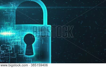 Closed Lock Icons With Cyber Security Network Interface Hologram. Concept Of Data Protection. 3d Ren