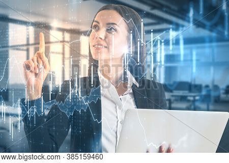Business Chart Concept On Double Exposure Picture With Businesswoman Using Laptop And Trading Chart