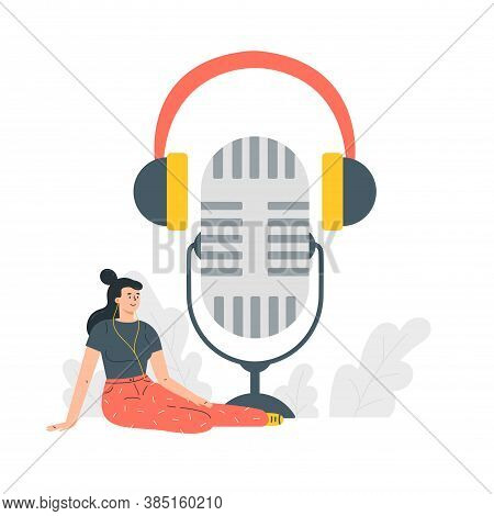 Podcast Concept Illustration.webinar, Online Training.young Female Listening To Podcast Sitting On T