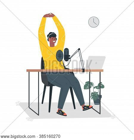 Radio Host.podcast Concept Illustration.young Male Podcaster Sitting At A Table In The Studio And Re