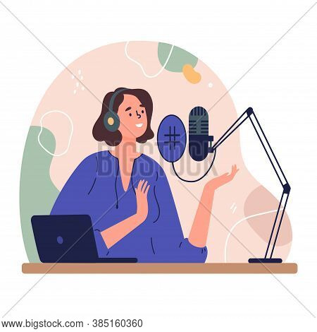 Radio Host.podcast Concept Illustration.young Female Podcaster Sitting At A Table In The Studio And