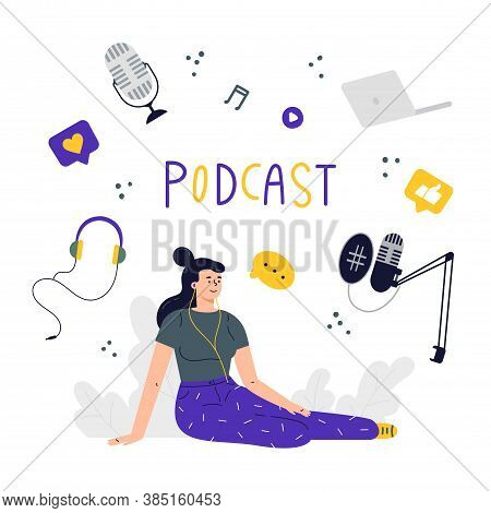 Radio Host.podcast Concept Illustration.young Female Listening To Podcast Sitting On The Floor.a Set