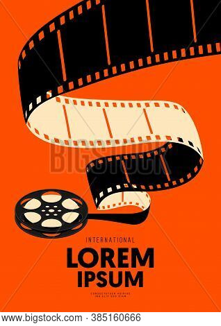 Movie And Film Poster Design Template Background With Vintage Filmstrip. Graphic Design Element Can
