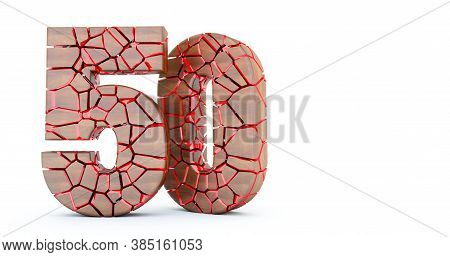 3d Render Of Number 50. Cracked Wooden Fifty 50. Number Fifty