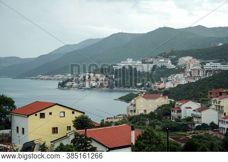 Panorama Of Neum, In Bosnia And Herzegovina, Seen From The Adriatic Coast Line. Neum Is A Bosnian Ci