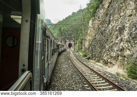 Mostar, Bosnia And Herzegovina - July 3, 2008: Bosnian Train From The Zfbh Company A Train On The Sa