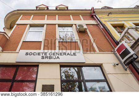 Kraljevo, Serbia - November 10, 2019: Logo Of Societe Generale Srbija On One Of Their Branches. Soci
