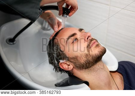 Woman Applying Shampoo Massaging Hair Customer Man Wash Hair In Beauty Salon Hairdresser Washing Hai