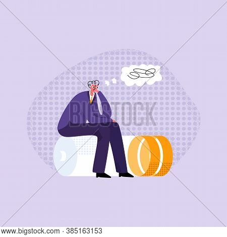 Vector Flat Illustration Worker, Tired Young Man Who Is Sitting On Battery With Low Charge Of Energy