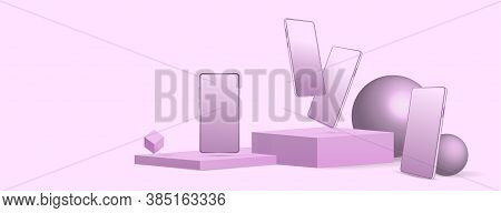 Purple Presentation Composition With Smartphones Mockup Set. Mobile Phones In Different Perspective