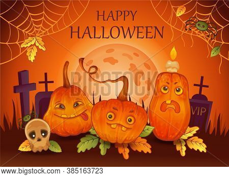 Happy Halloween Holiday Poster. Funny Orange Pumpkins, Skull, Spiders On Moonlight Background. Conce
