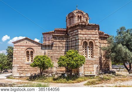 Old Church Of Holy Apostles In Ancient Agora, Athens, Greece. This Place Is Tourist Attraction Of At