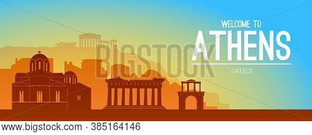 Athens, Greece Famous City Scape View Background.