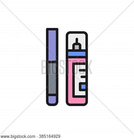 Corrector, Concealer, Eyeliner, Marker Flat Color Line Icon.