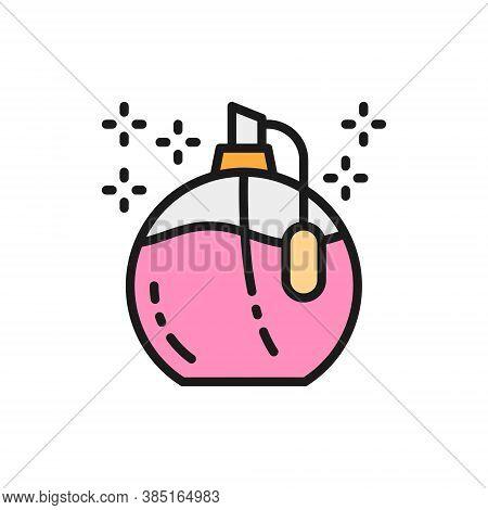 Perfume In A Bottle, Fragrance Jar, Tester, Sampler Flat Color Line Icon.