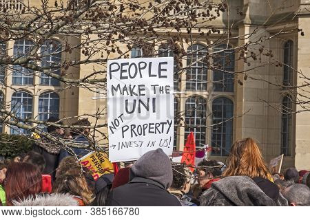 Bristol, Uk - February 22, 2018: Striking University Staff And Their Supporters Protest About Propos