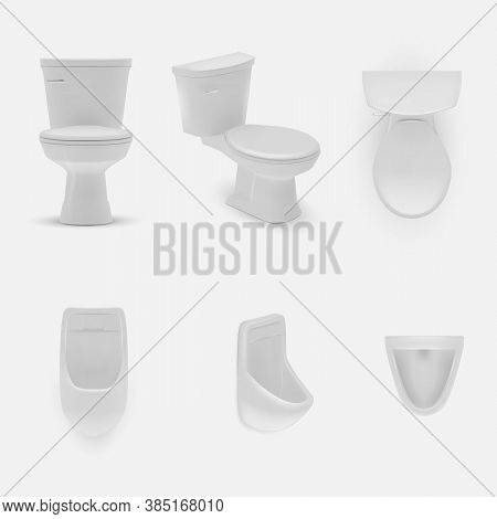 Realistic Toilet. Mounted And Standing Model. Bathroom Or Wc Lavatory Design Template Interior. Real