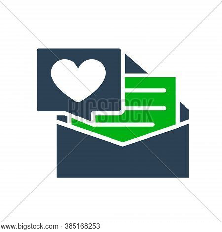 Letter With Big Heart Colored Icon. Declaration Of Love, Note In Envelope, Like, Feedback Symbol