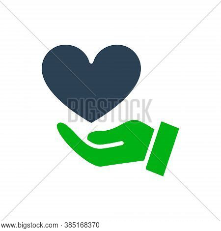 Hand With Big Heart, Giving A Love Colored Icon. Charity, Donation, Like Symbol