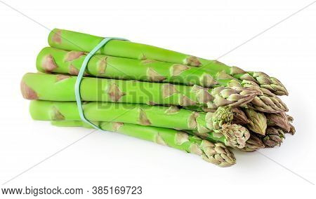 Raw Asparagus Isolated On White Background. Fresh Asparagus.  Vegetarian  Food Concept.