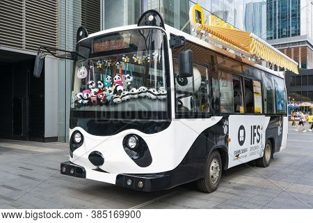 Chengdu, China - Aug 28, 2019: Panda Bus Full Or Souvenirs For Sale In Chengdu