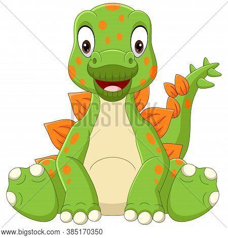 Vector Illustration Of Cartoon Baby Stegosaurus Dinosaur Sitting