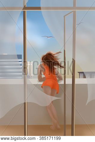 Young Attractive Woman On The Balcony Looks Relaxed Under The Light Sea Breeze. Seagulls In The Blue