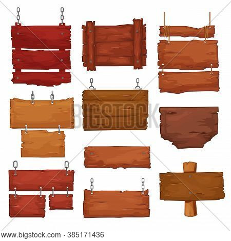 Wooden Boards Hang On Ropes And Chains. Cartoon Vector Signboards With Wood Texture, Banners Or Labe