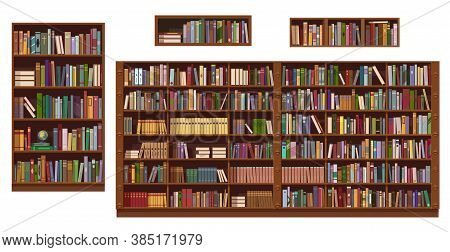Book Shelves And Bookcase Of Library Or Bookstore, Vector Education. Bookshelf Isolted Objects With