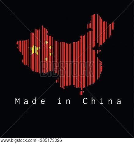 Barcode Set The Shape To China Map Outline And The Color Of China Flag On Black Background With Text