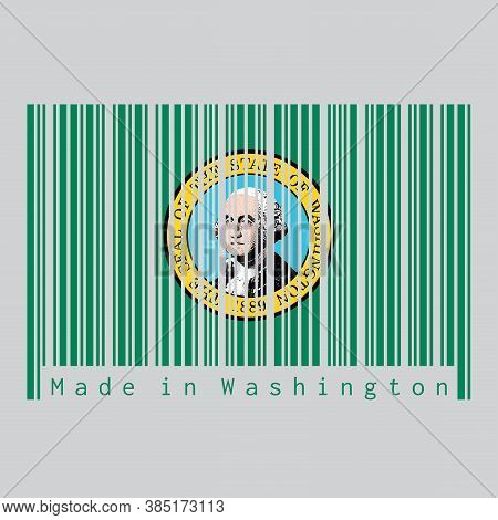 Barcode Set The Color Of Washington Flag, The States Of America. The State Seal, Displaying An Image