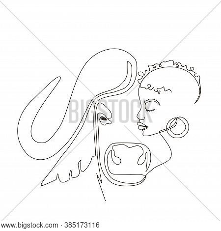 Continuous Line Art Or One Line Drawing. African Woman And Buffalo Vector Illustration, нuman And An