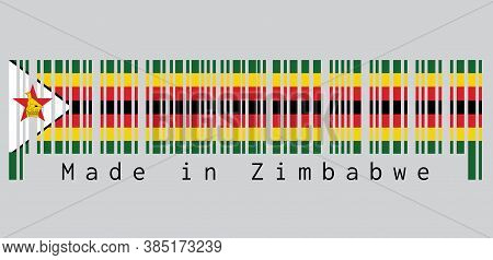 Barcode Set The Color Of Zimbabwe Flag, Seven Horizontal Stripes Of Green Yellow Red Black With A Bl