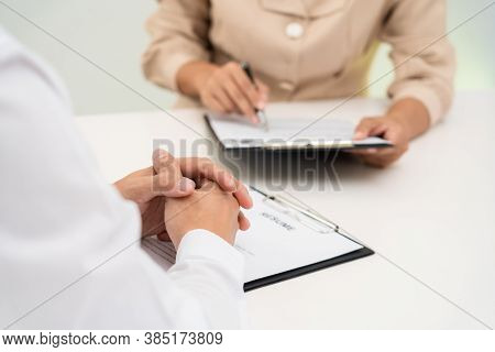 Interview The Job And Hiring, Businessman Candidate At Job Interview Explaining About His Profile To