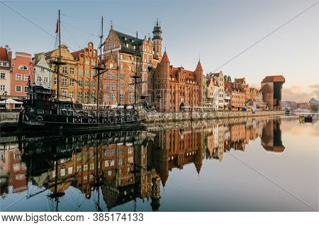 Cityscape of Gdansk old town on the river Motlawa. Old Town of Gdansk, Poland.