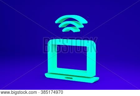 Green Wireless Laptop Icon Isolated On Blue Background. Internet Of Things Concept With Wireless Con