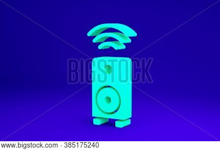 Green Smart Stereo Speaker System Icon Isolated On Blue Background. Sound System Speakers. Internet