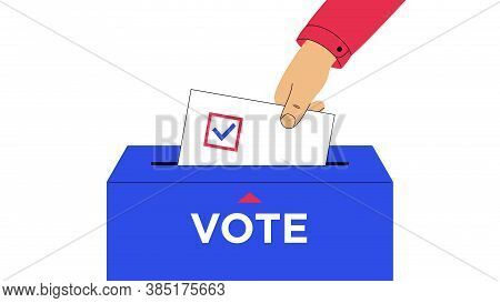 Human Hand Put Down Ballot With Mark To Inside The Voting Box. Election Of The President Or Governme
