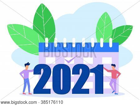 Vector Illustration Of People Welcoming New Year, Involved In Decoration, New Year 2021 Writing.