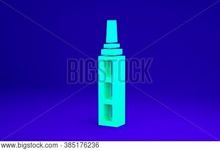 Green Skyscraper Icon Isolated On Blue Background. Metropolis Architecture Panoramic Landscape. Mini