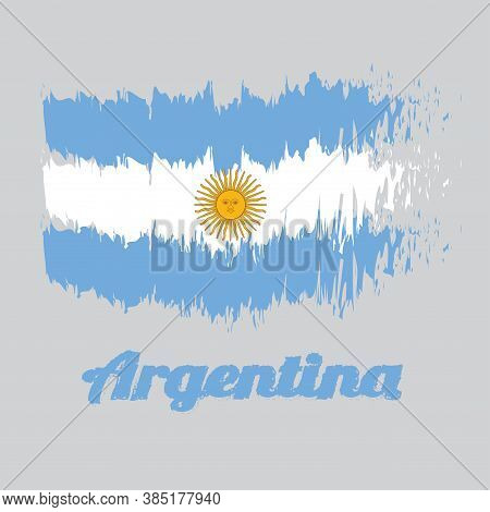 Brush Style Color Flag Of Argentina, A Horizontal Triband Of Light Blue (top And Bottom) And White W