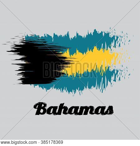 Brush Style Color Flag Of Bahamas, A Horizontal Triband Of Aquamarine (top And Bottom) And Gold With