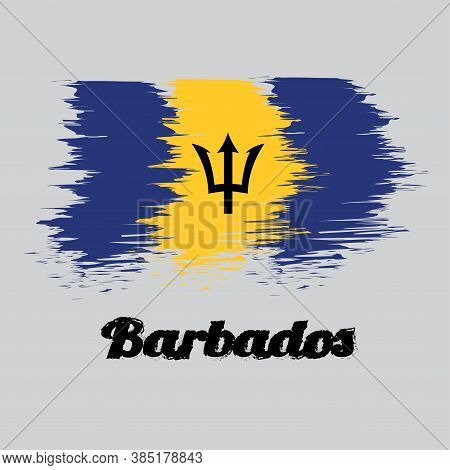 Brush Style Color Flag Of Barbados, A Vertical Triband Of Ultramarine (hoist-side And Fly-side) And