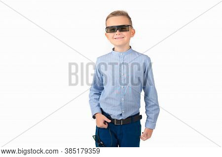 Front View Surprised,smiling Caucasian Open Mouth Caucasian Schoolboy With 3d Glasses Concept