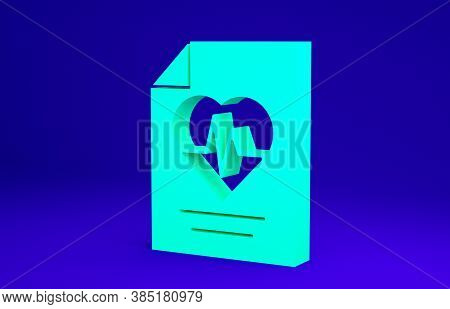 Green Health Insurance Icon Isolated On Blue Background. Patient Protection. Security, Safety, Prote