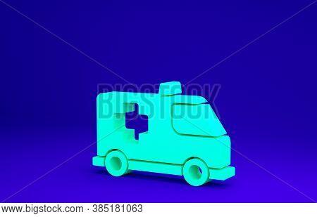 Green Ambulance And Emergency Car Icon Isolated On Blue Background. Ambulance Vehicle Medical Evacua