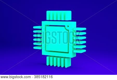 Green Computer Processor With Microcircuits Cpu Icon Isolated On Blue Background. Chip Or Cpu With C