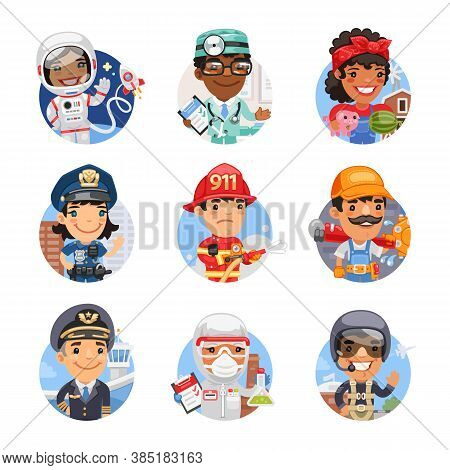 Set Of Avatars With People Of Different Professions. Astronaut, Doctor, Farmer, Policeman, Firefight